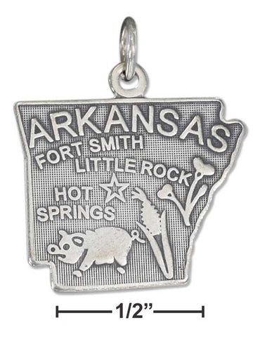 Sterling Silver Antiqued Arkansas State Charm | Jewelry Store