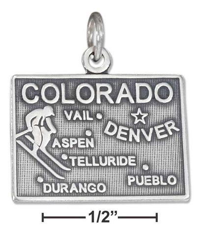 Sterling Silver Antiqued Colorado State Charm | Jewelry Store