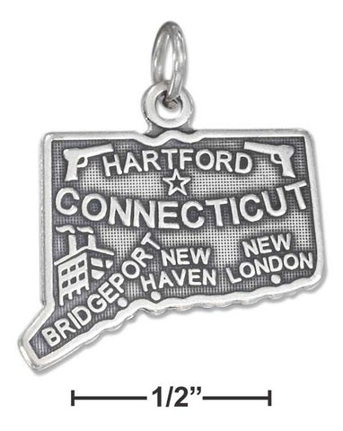 Sterling Silver Antiqued Connecticut State Charm | Jewelry Store