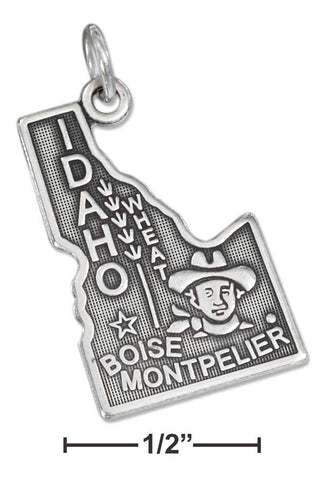Sterling Silver Antiqued Idaho State Charm | Jewelry Store