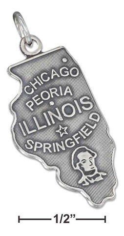 Sterling Silver Antiqued Illinois State Charm | Jewelry Store