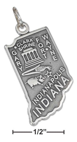 Sterling Silver Antiqued Indiana State Charm | Jewelry Store