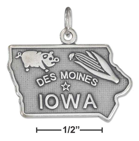 Sterling Silver Antiqued Iowa State Charm | Jewelry Store