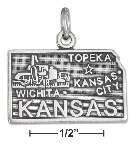 Sterling Silver Antiqued Kansas State Charm | Jewelry Store