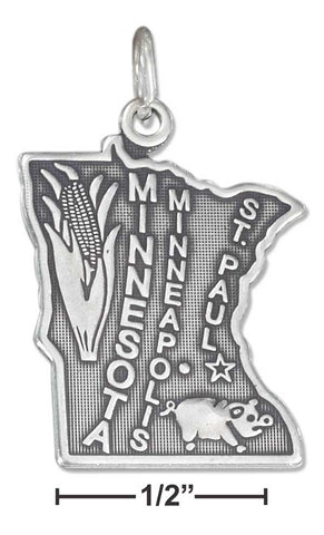 Sterling Silver Antiqued Minnesota State Charm | Jewelry Store