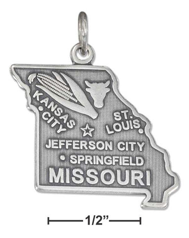 Sterling Silver Antiqued Missouri State Charm | Jewelry Store