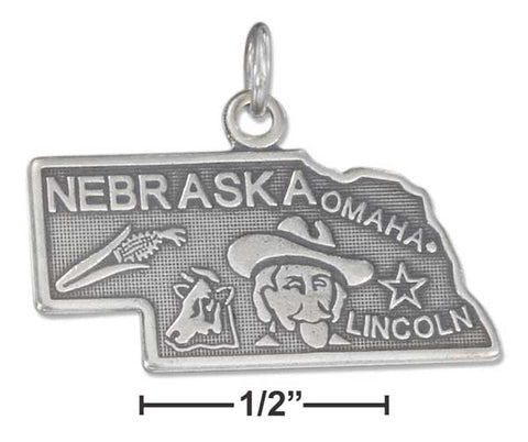 Sterling Silver Antiqued Nebraska State Charm | Jewelry Store