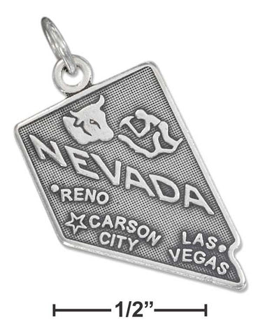 Sterling Silver Antiqued Nevada State Charm | Jewelry Store