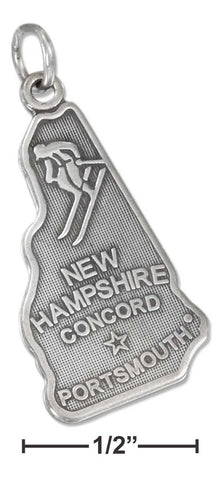 Sterling Silver Antiqued New Hampshire State Charm | Jewelry Store