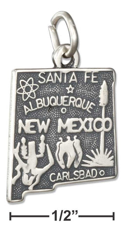 Sterling Silver Antiqued New Mexico State Charm | Jewelry Store