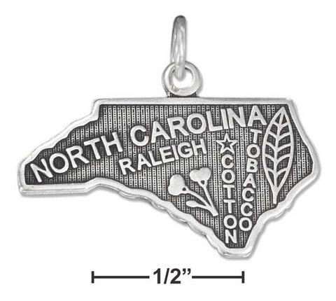 Sterling Silver Antiqued North Carolina State Charm | Jewelry Store