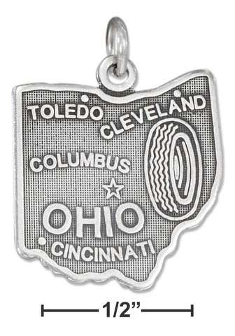 Sterling Silver Antiqued Ohio State Charm | Jewelry Store