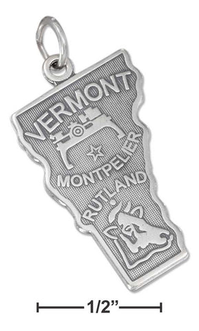 Sterling Silver Antiqued Vermont State Charm | Jewelry Store