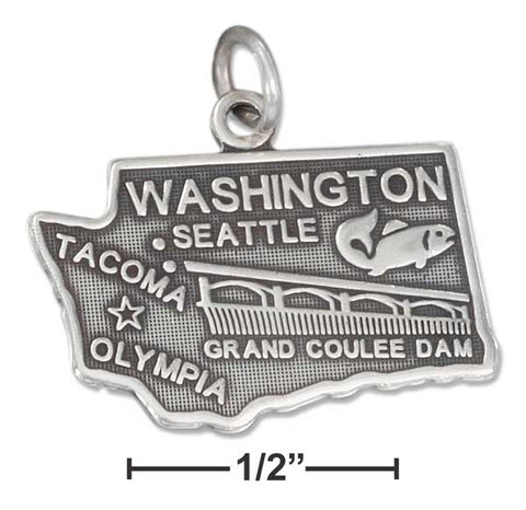 Sterling Silver Antiqued Washington State Charm | Jewelry Store