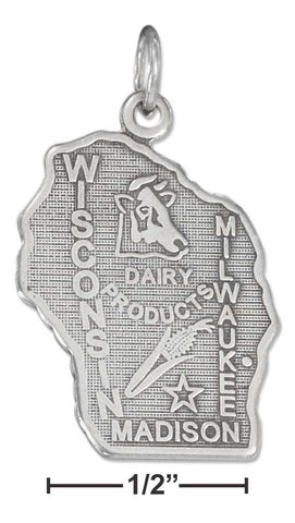 Sterling Silver Antiqued Wisconsin State Charm | Jewelry Store