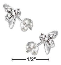 Sterling Silver Mini Bumble Bee Earrings On Hypo-Allergenic Steel Posts And Nuts | Jewelry Store