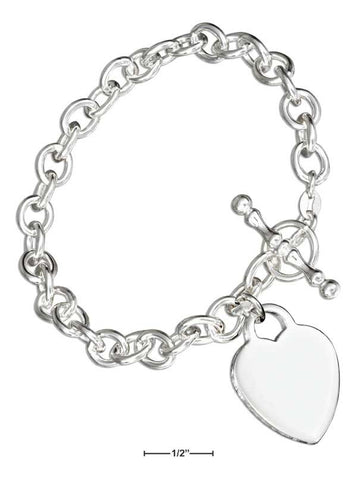 "Sterling Silver 7"" Italian Toggle Bracelet With Heart Charm 
