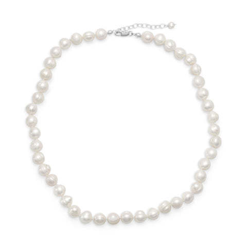 "18""+2"" Extension White Cultured Freshwater Pearl Necklace 
