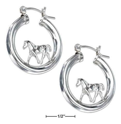 Sterling Silver On Tubular Hoop Horse Earrings With French Locks | Jewelry Store