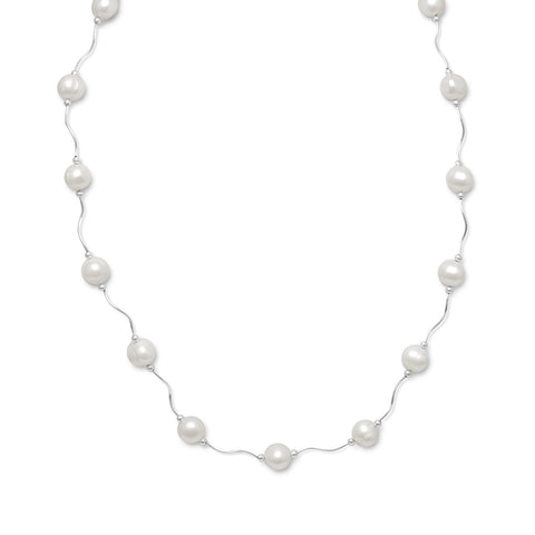 "17""+2"" Extension Wave Design Necklace with Cultured Freshwater Pearls 