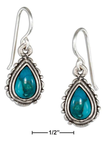 Sterling Silver Scallop And Beaded Edge Simulated Turquoise Teardrop Earrings | Jewelry Store