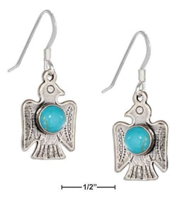 Sterling Silver Thunderbird Earrings With Simulated Turquoise Stone | Jewelry Store