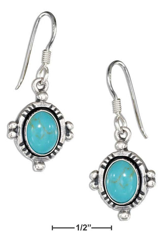 Sterling Silver Southwest Inspired Oval Simulated Turquoise Earrings | Jewelry Store