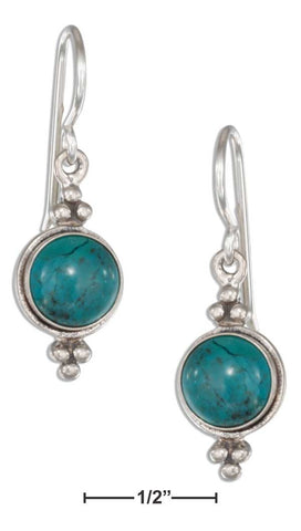 Sterling Silver Round Simulated Turquoise Concho Earrings On French Wires | Jewelry Store