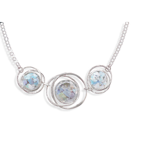 "17"" Abstract Circle Roman Glass Necklace 