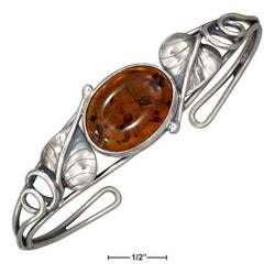 Sterling Silver Open Leaf And Oval Honey Amber Wire Cuff Bracelet | Jewelry Store