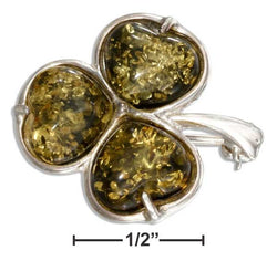 Sterling Silver Green Amber Shamrock Pin | Jewelry Store