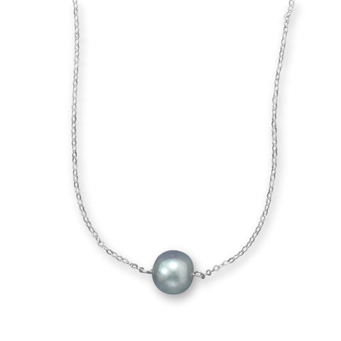 "16"" + 2"" Silver Cultured Freshwater Pearl Necklace 