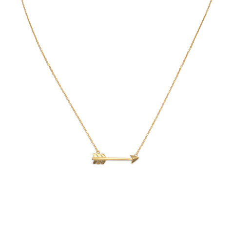 14 Karat Gold Plated Aim High Arrow Necklace | Jewelry Store