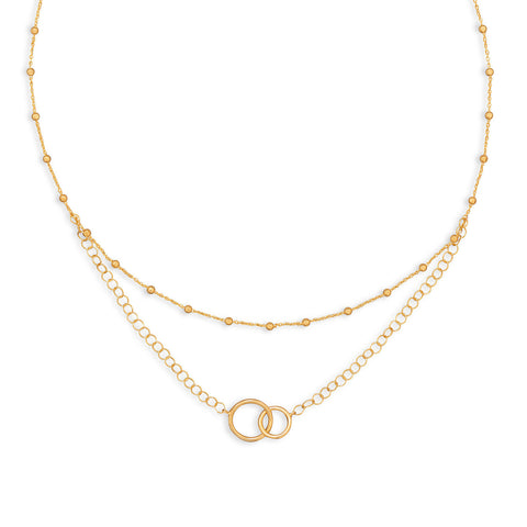 "16"" 14 Karat Gold Plated Multistrand Beaded Necklace with Circle Link 