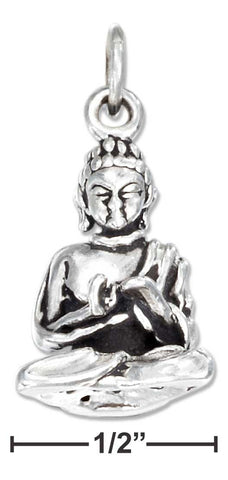 Sterling Silver Antiqued Three Dimensional Young Lotus Buddha Charm | Jewelry Store