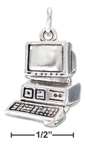 Sterling Silver Large Antiqued Computer Charm | Jewelry Store