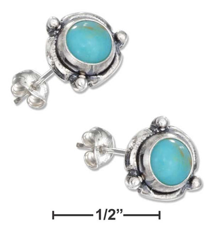 Sterling Silver Mini Flower Concho Turquoise Earrings On Posts | Jewelry Store