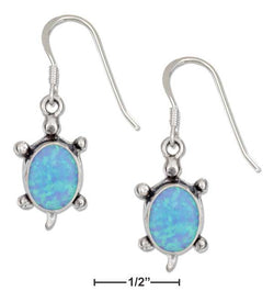 Sterling Silver Synthetic Blue Opal Turtle Earrings On French Wires | Jewelry Store