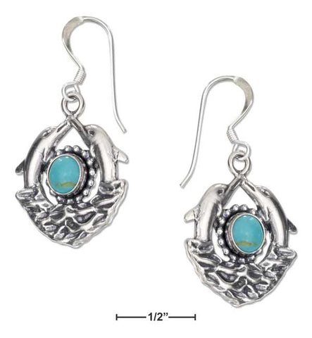 Sterling Silver Double Dolphin Earrings With Simulated Turquoise On French Wires | Jewelry Store
