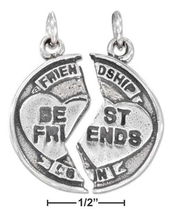 "Sterling Silver Antiqued Two Piece Break Apart ""Best Friends"" Charm 