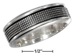 Sterling Silver Mens Antiqued Worry Ring With Beaded Spinning Band | Jewelry Store