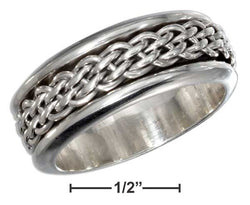 Sterling Silver Mens Antiqued Worry Ring With Woven Spinning Band | Jewelry Store