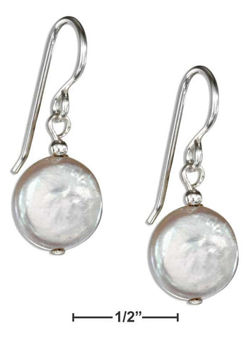 Sterling Silver Simple Disk Fresh Water Cultured Pearl Earrings | Jewelry Store