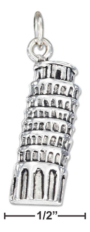 Sterling Silver Antiqued Leaning Tower Of Pisa Charm | Jewelry Store