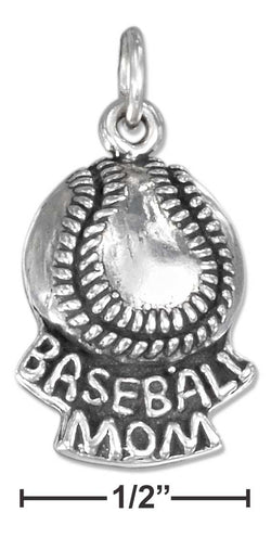 "Sterling Silver Antiqued Baseball With ""Baseball Mom"" Charm 