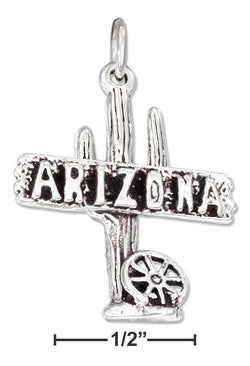 "Sterling Silver ""Arizona"" Sign Charm With Cactus And Wagon Wheel 