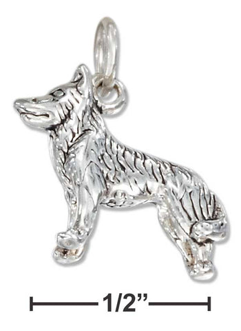Sterling Silver Three Dimensional Siberian Husky Dog Charm | Jewelry Store