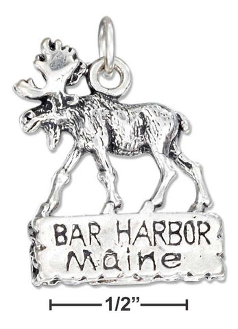 "Sterling Silver ""Bar Harbor Maine"" Sign With Moose Charm 