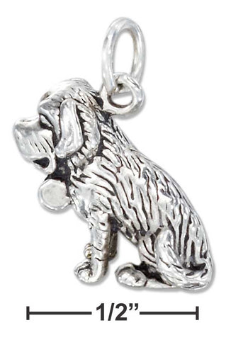 Sterling Silver Three Dimensional St Bernard Dog Charm | Jewelry Store