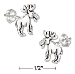 Sterling Silver Mini Moose Earrings On Hypo-Allergenic Steel Posts And Nuts | Jewelry Store